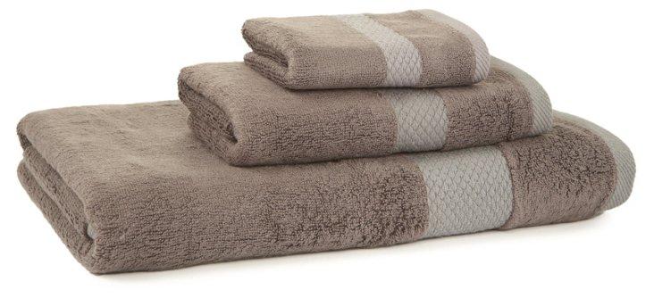 3-Pc Stripe Bamboo Towel Set, Gray