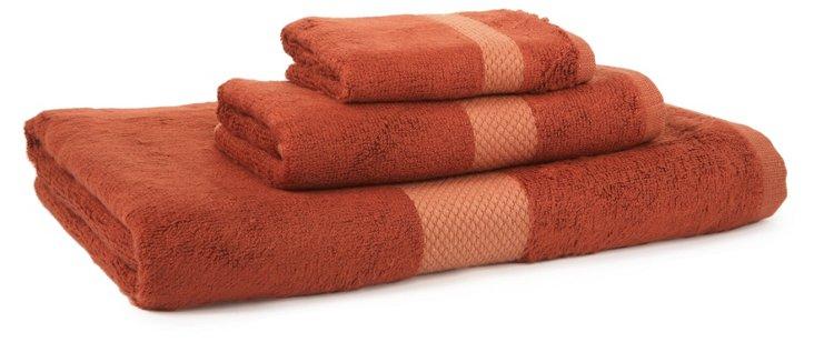 3-Pc Stripe Bamboo Towel Set, Copper