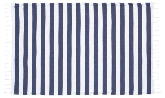 Striped Beach Towel, Navy