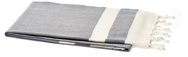 Khadi Turkish Cotton Beach Blanket, Navy