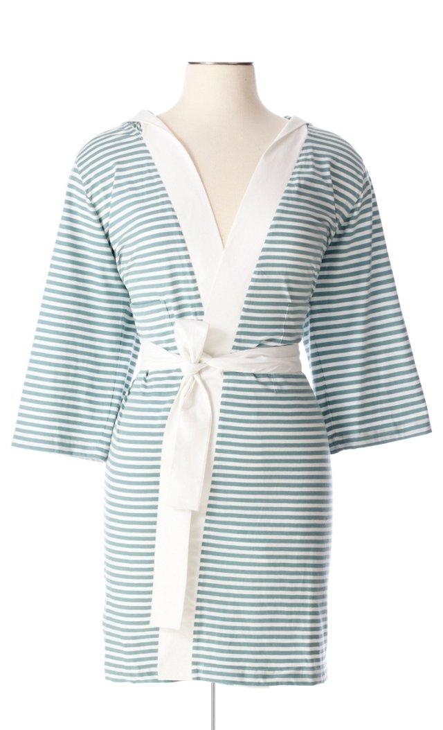 Striped Robe, White/Teal