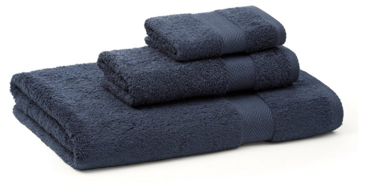 3-Pc Chevron Border Towel Set, Navy