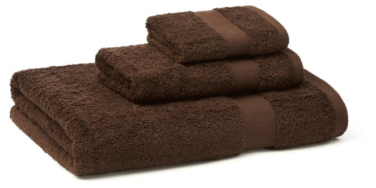 3-Pc Chevron Border Towel Set, Chocolate