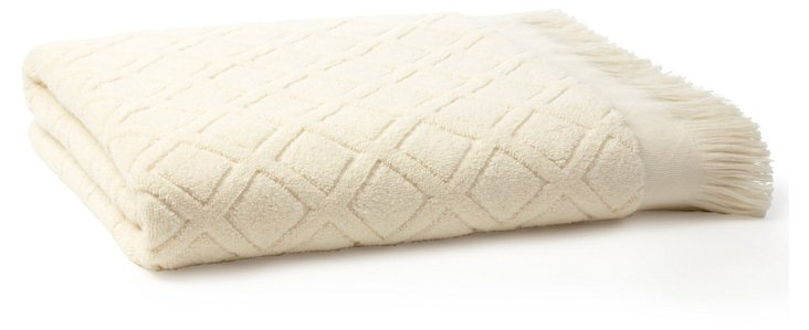 Trellis Bath Towel, White
