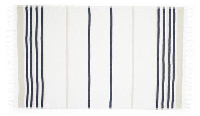 Marcel Cotton Beach Blanket, Ivory/Blue