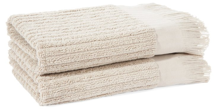 S/2 Ribbed Hand Towels, Oatmeal