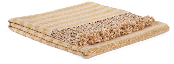 Striped Bamboo Throw, Mustard