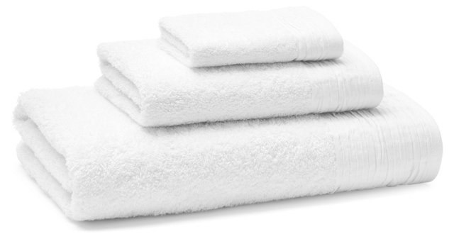 3-Pc Turkish Towel Set, Pleated White