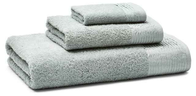 3-Pc Turkish Towel Set, Pleated Gray