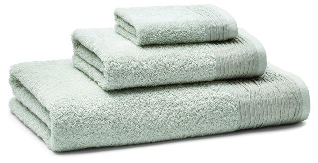 3-Pc Turkish Towel Set, Pleated Sage