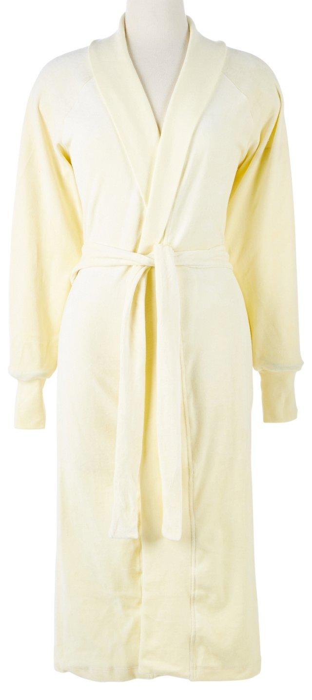 Organic Cotton Velour Robe, Ivory