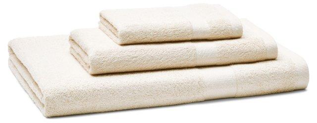 3-Pc Bamboo Viscose Towel Set, Ecru