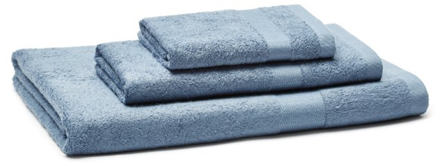 3-Pc Bamboo Viscose Towel Set, Blue