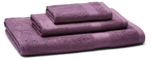 3-Pc Bamboo Viscose Towel Set, Purple