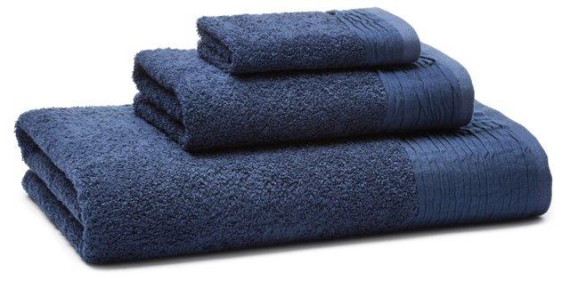 3-Pc Turkish Towel Set, Marine Blue
