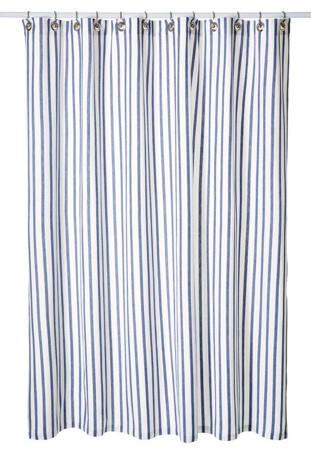 Thin Stripe Shower Curtain, Navy