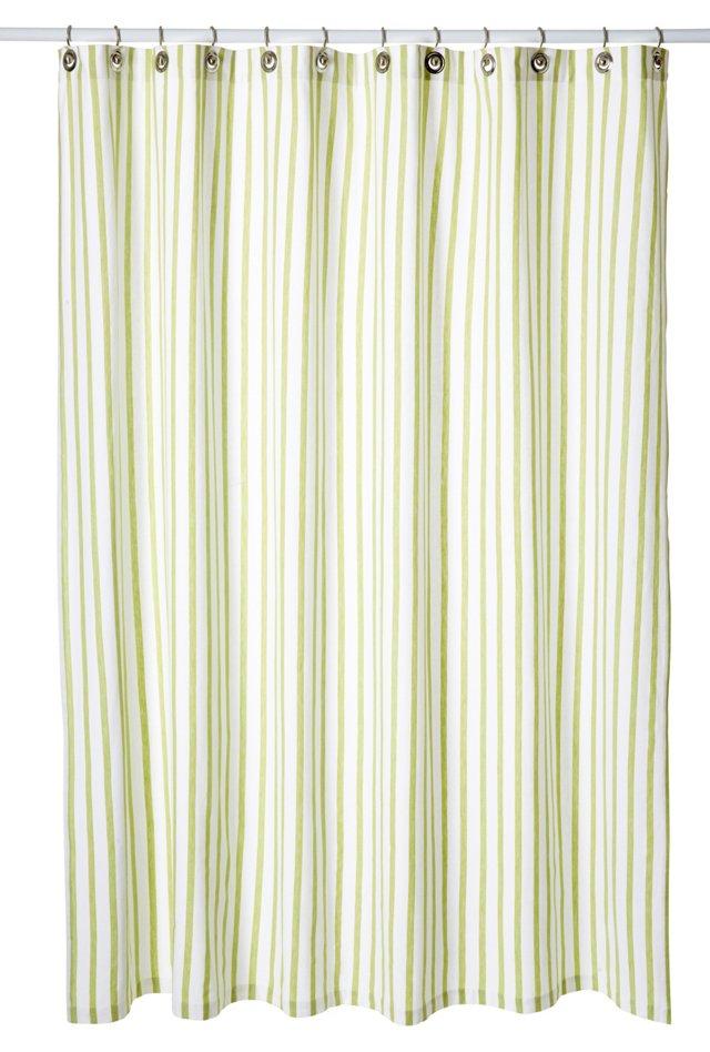 Thin Stripe Shower Curtain, Light Green