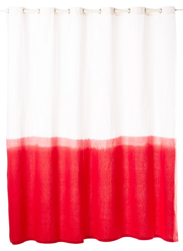 Dip-Dye Shower Curtain, Red