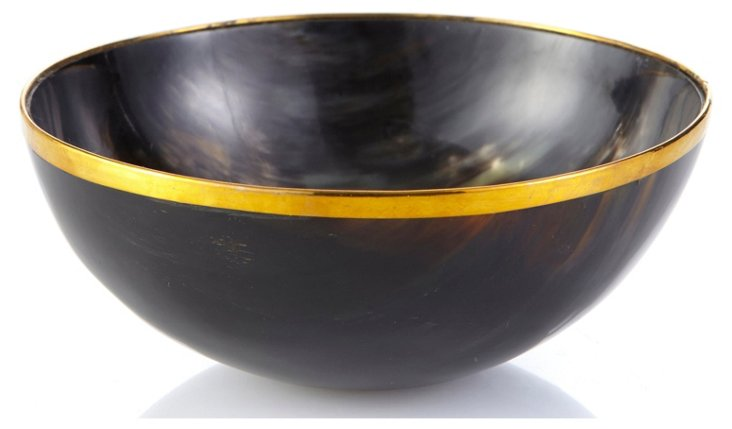 "7"" Horn Bowl w/ Brass, Brown"