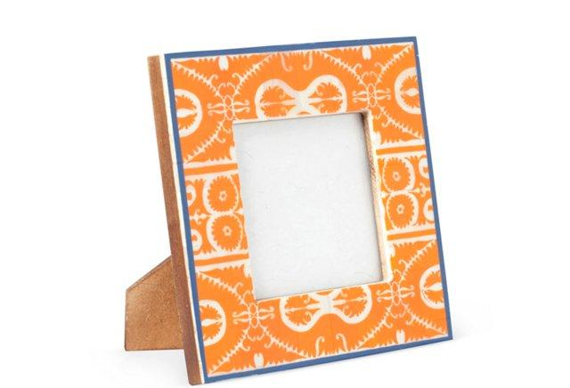 Printed Bone Frame, 4x4, Orange/Blue