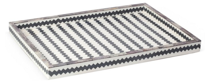 "19"" Chevron Bone Tray, White/Gray"