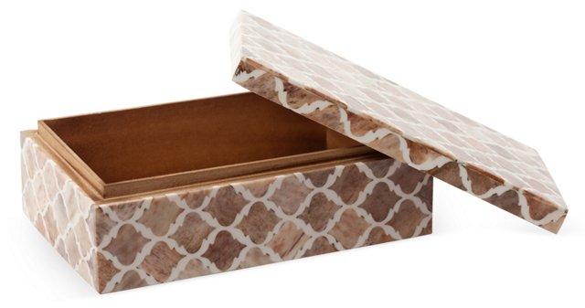 5x8 Sand Moroccan Pattern Box, Bone