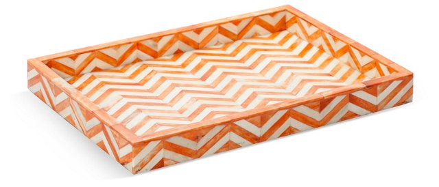 "15"" Bone-Inlaid Tray, Orange"