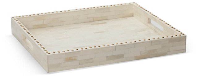 "17"" Bone Tray w/ Studs, White"