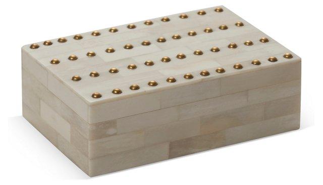 "8"" Bone Box w/ Studs, White"