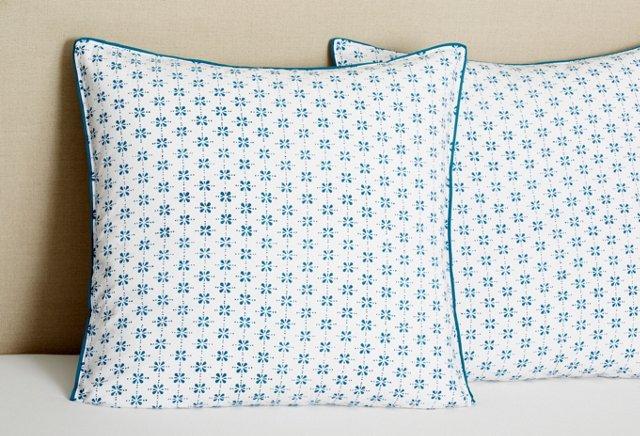 S/2 Euro Pillowcases, Celestial Blue