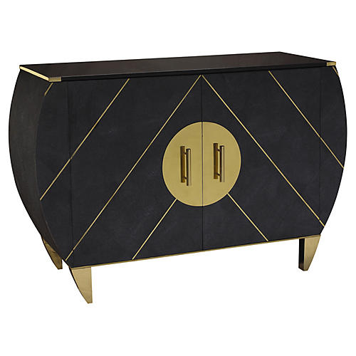 Kir Royale Faux-Shagreen Sideboard, Midnight