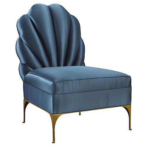 Hanky Tufted Slipper Chair, Peacock