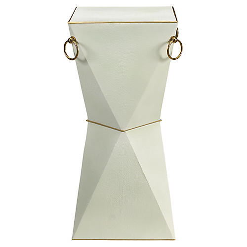 Mimosa Faux-Shagreen Side Table, Wintergreen