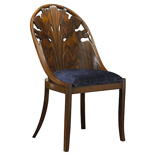 Pink Lady Side Chair, Navy Velvet