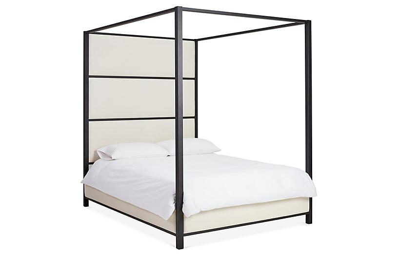 Sorrento Canopy Bed, Matte Black/Ivory Linen