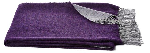 Alpaca Throw, Gray/Purple