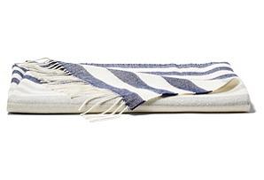 Bold-Stripe Throw, Navy