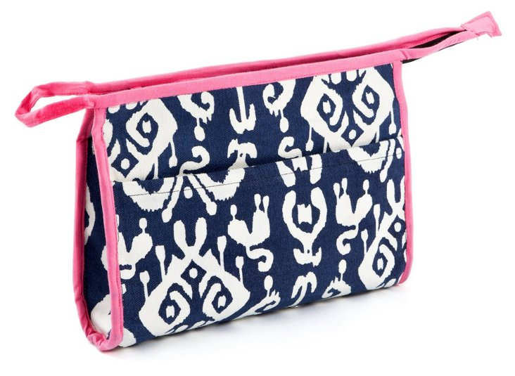Ikat Small Cosmetic Bag, Navy