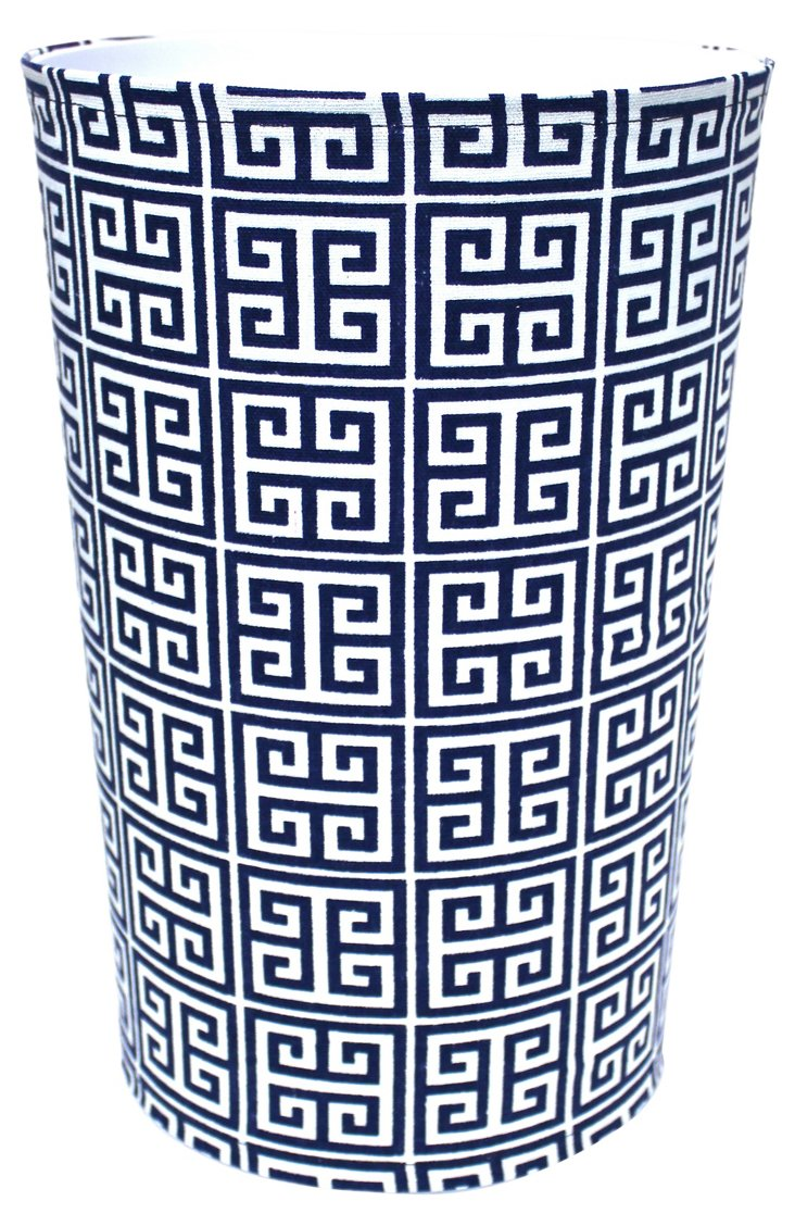 Greek Key Wastebasket, Navy