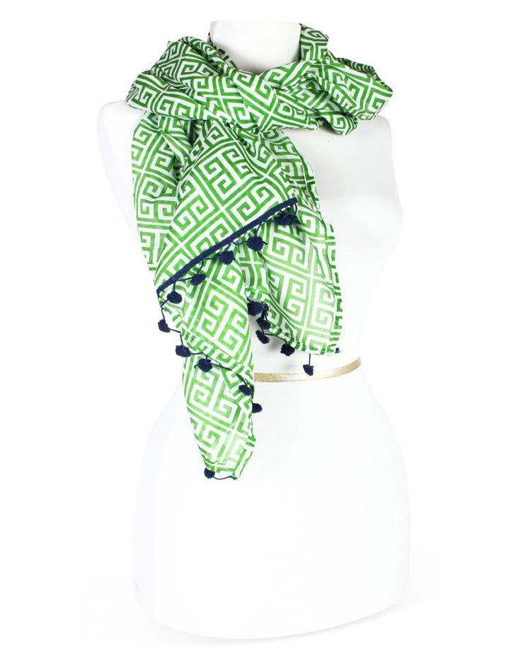 Greek Key Scarf, Green