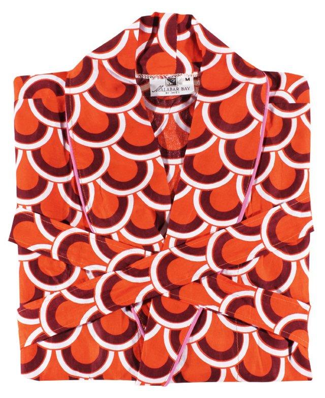 Scalloped Arches Robe, Orange