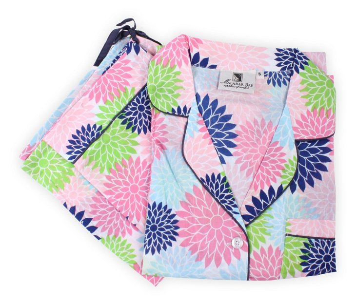 Floral Pop Pajama Set, Pink/Blue