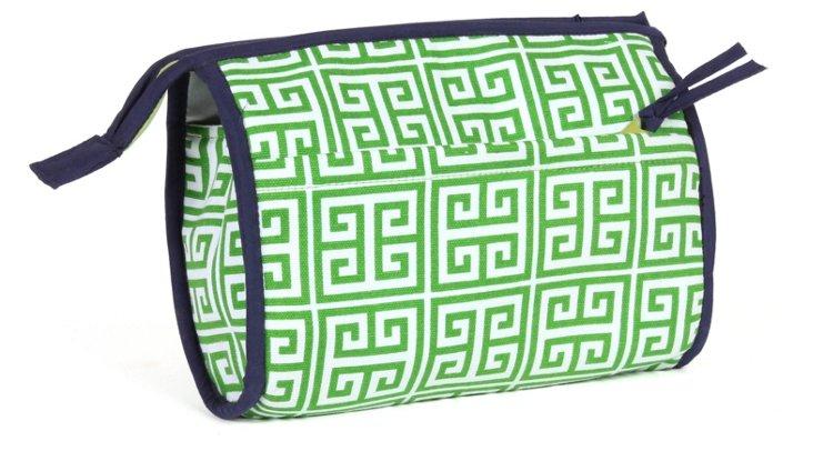Greek Key Cosmetic Bag, Green