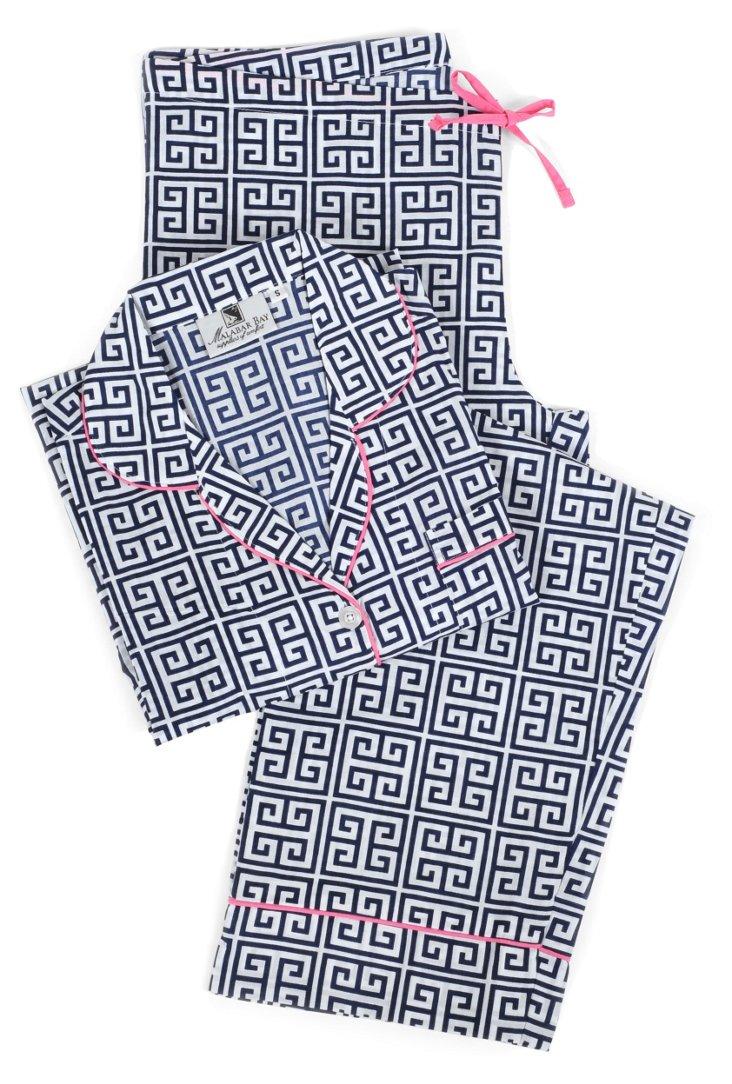Greek Key Pajama Set, Navy