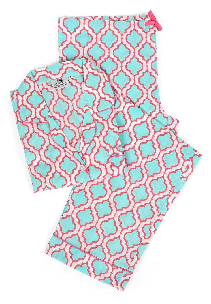 Chelsea Pajama Set, Aqua/Pink