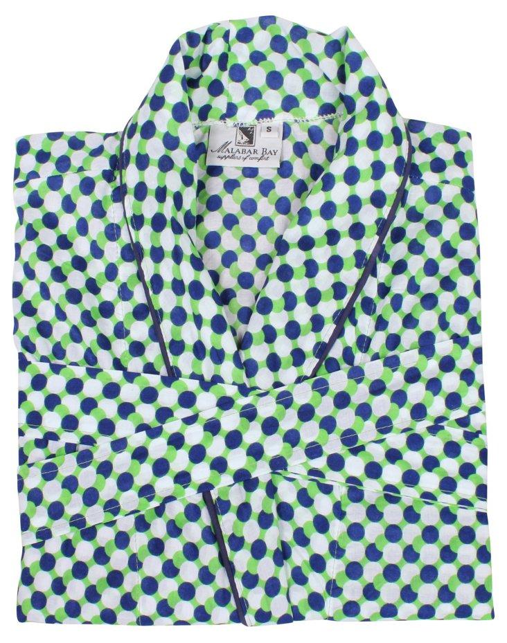 Mod Dots Robe, Green/Navy