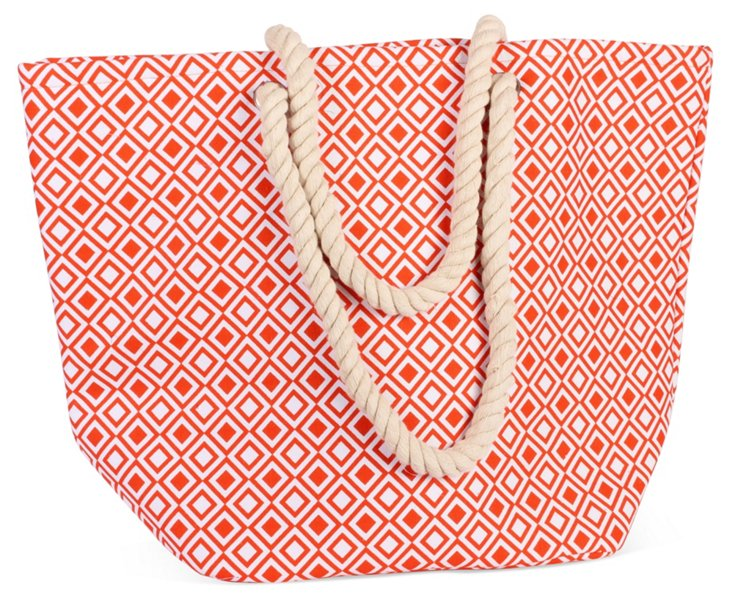 Newport Tote, Modern Squares Red