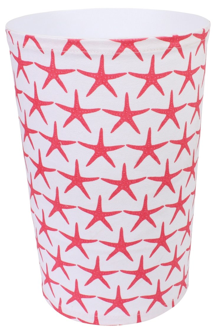 Starfish Canvas Wastebasket, Pink