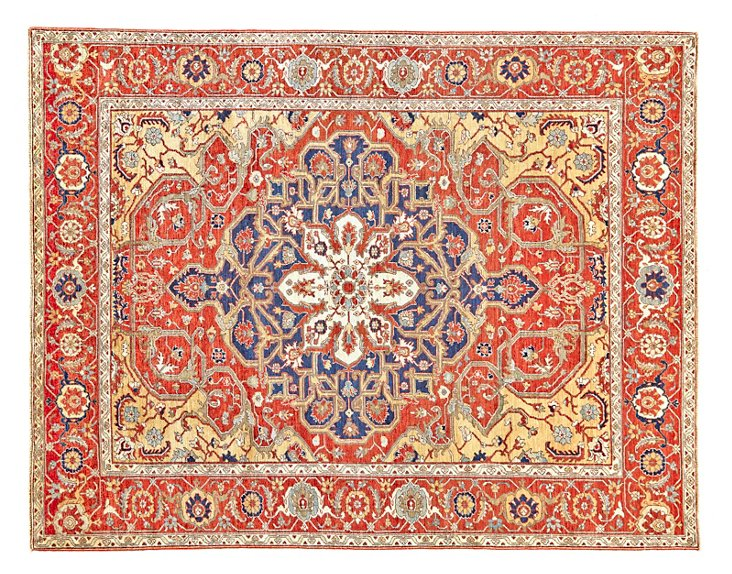 8'x10' Afghn Herz Rug, Maple Leaf Red