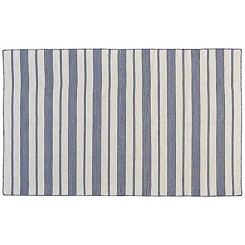 Gilford Outdoor Rug, Navy/White